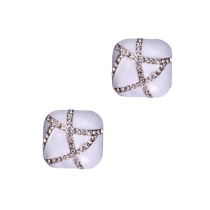 Glynis Clip Earrings (white)