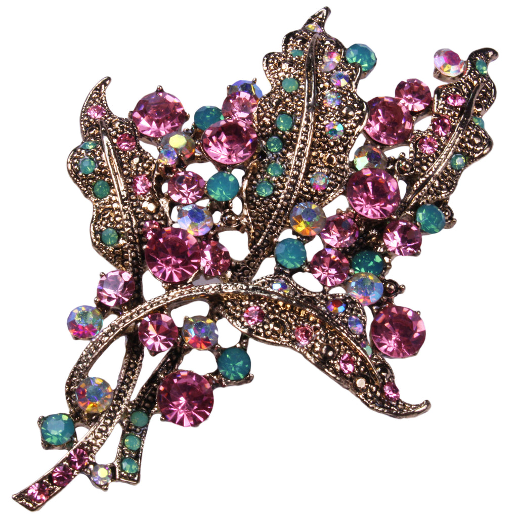 Crystal Leaves Brooch