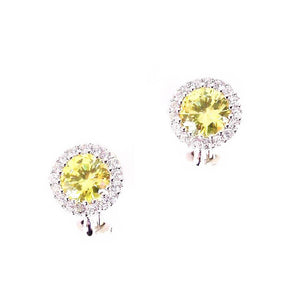 Cubic Zirconia Clip on Earrings in Canary