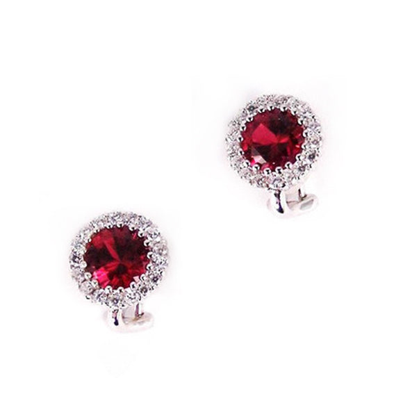 Ruby CZ Clip on Earrings