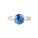 Aqua coloured cubic zirconia Matilda ring
