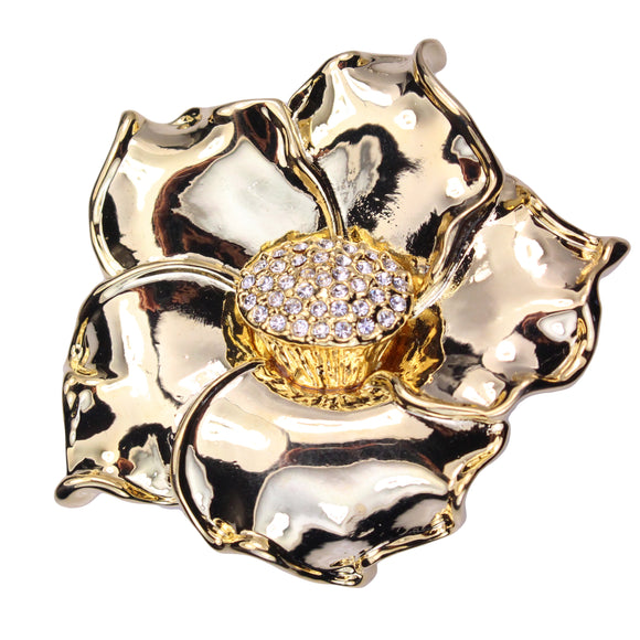 Polished Flower Brooch (Gold)