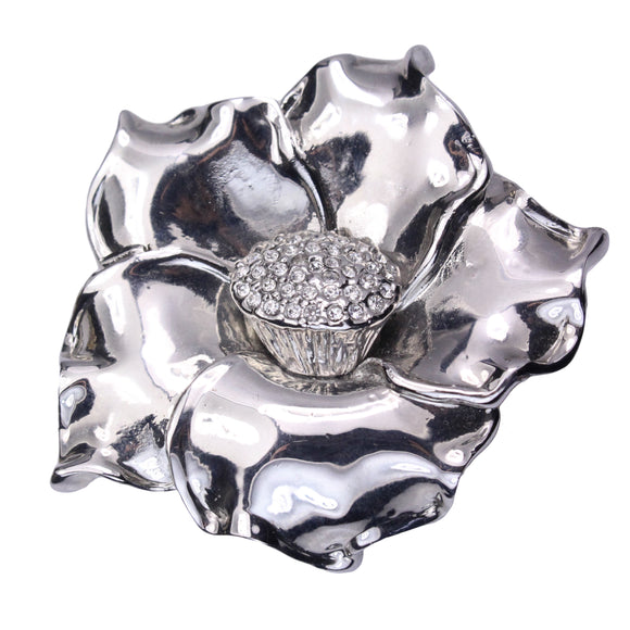 Polished Flower Brooch (Rhodium)
