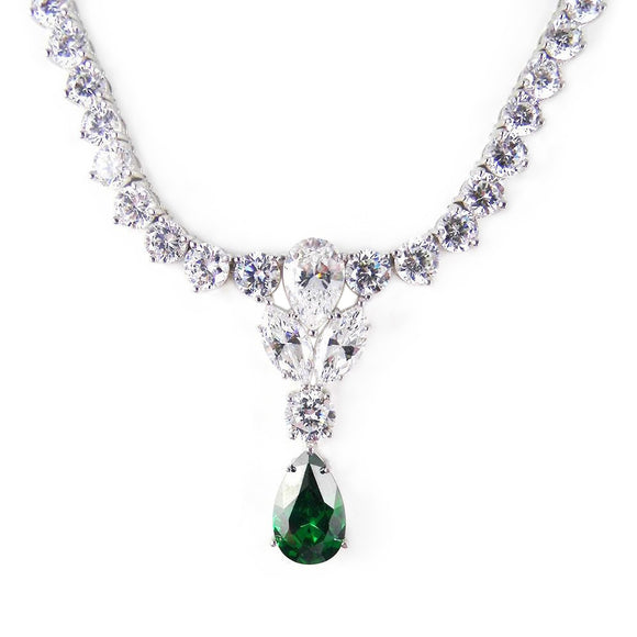 CZ Necklace with White and Emerald Imitation Diamond Cubic Zirconia - Rebecca