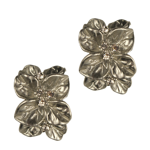 Rosa Clip Earrings (Rhodium)