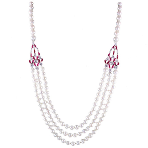 Shira Pearl Necklace (Ruby)
