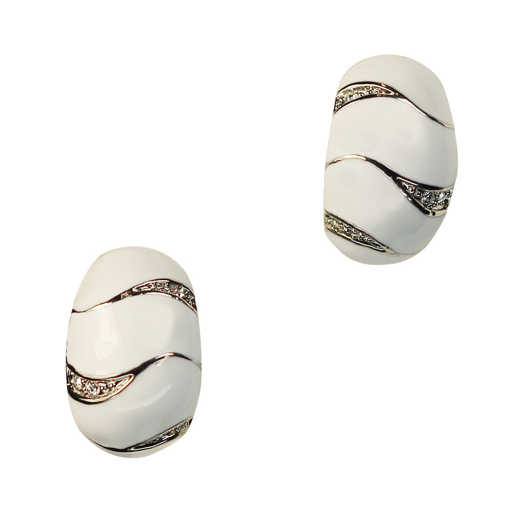 Clip on Earrings in White with Crystals