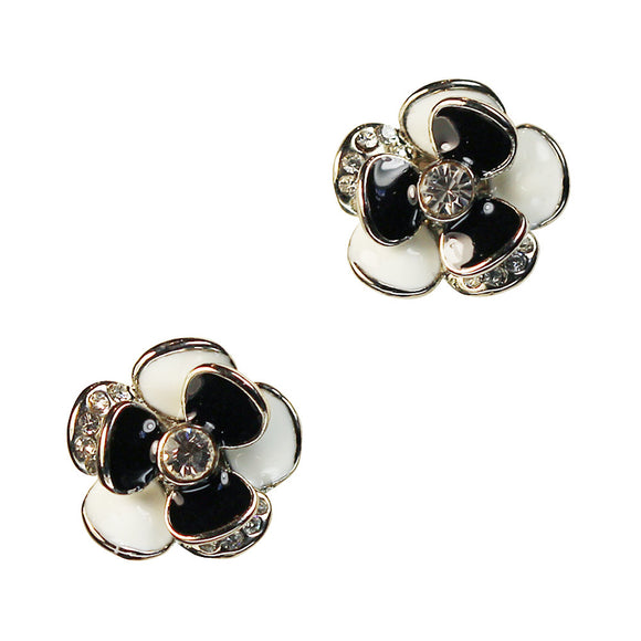 Clip on Earrings in Black and White with Enamel and Crystals