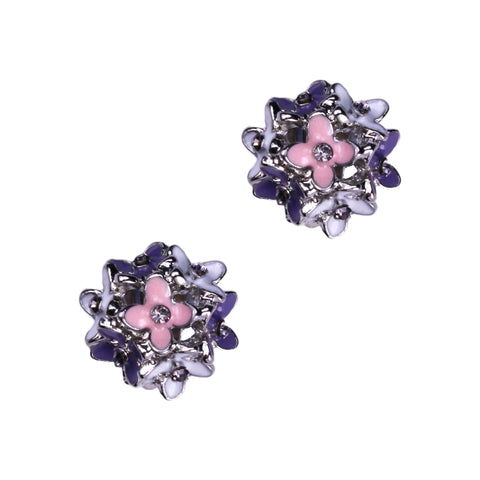 Paula Clip Earrings (Rhodium)