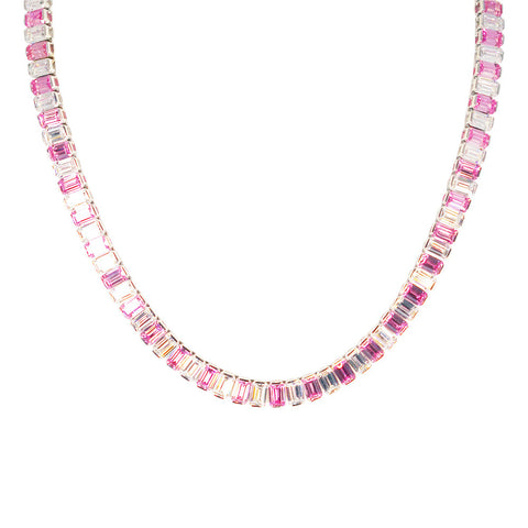 Jazmin Baguette Necklace (Pink)