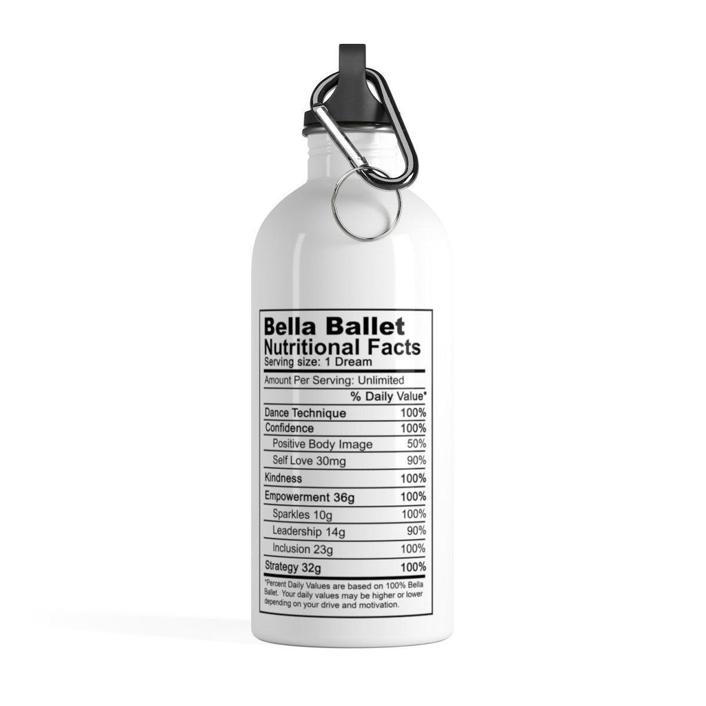 Bella Ballet Nutrition Facts Stainless Steel Water Bottle-Mug-ConfidencebyHope