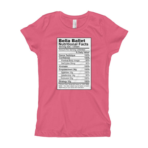 Image of Bella Ballet Nutrition Facts Girl's T-Shirt