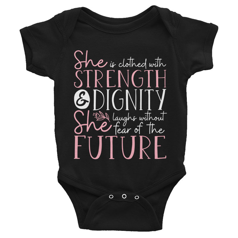 She is Strength Baby Bodysuit