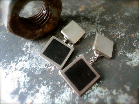 Silver and Ebony Cufflinks from Recycled Piano Keys