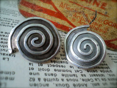 Silver Spiral Contemporary Earrings