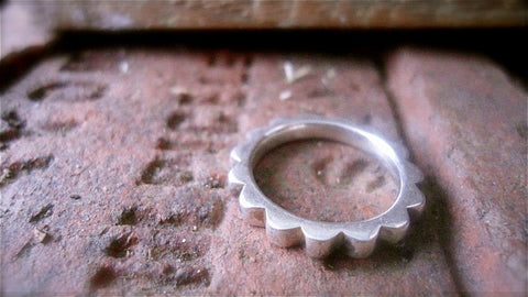 "Silver Contemporary ""Cog in the Wheel"" Ring"