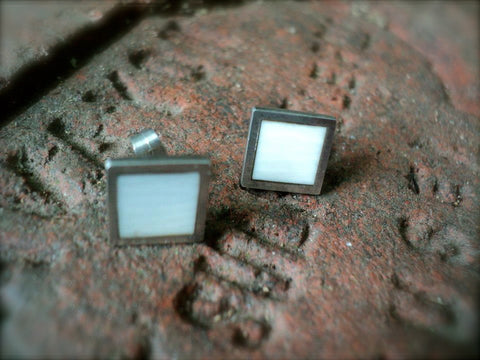 Silver and Ivory Ear Studs from Recycled Piano Keys