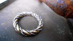 "Gold and Silver ""Nouveau Latvian Nearly Namejs"" Twisted Ring"