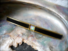 18ct Gold, Opal and Ebony Contemporary Brooch