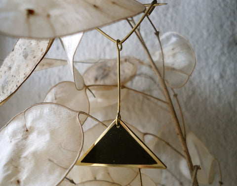 18ct Gold and Ebony Triangular Contemporary Brooch