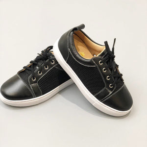 Kids Black Leather & Mesh Panel Trainers