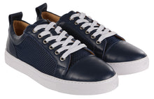 Load image into Gallery viewer, Navy Leather & Mesh Panel Trainers