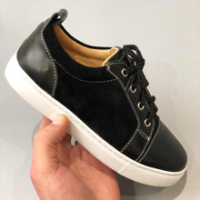 Load image into Gallery viewer, Kids Black Leather & Suede Panel Trainers