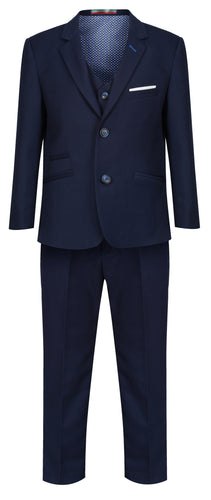 Boys Navy Blue 3 Piece Suit