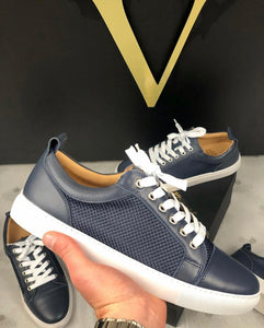 Navy Leather & Mesh Panel Trainers