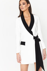 White & Black Tux Wrap Dress