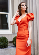 Load image into Gallery viewer, Orange Puff Sleeve Low Back Midi Dress