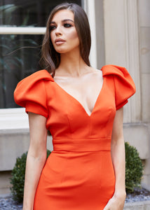 Orange Puff Sleeve Low Back Midi Dress