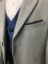 Load image into Gallery viewer, Light Grey & Light Blue 3 Piece Suit