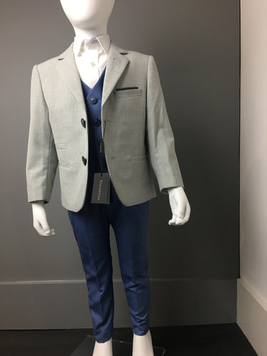 Light Grey & Light Blue 3 Piece Suit
