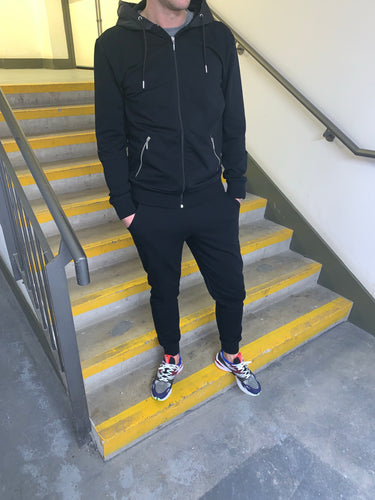Black Hooded Tracksuit