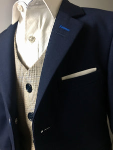 Navy & Cream Check 3 Piece Suit