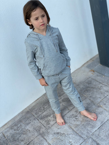 Boy's Light Grey Logo Panel Tracksuit
