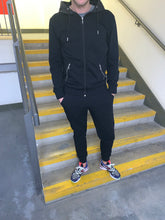 Load image into Gallery viewer, Black Hooded Tracksuit