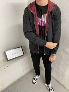 Black-Burgundy Reverse Tech Jacket