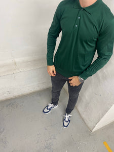 Green Long Sleeve Polo Shirt