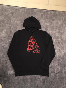 Luxury Red Shark Black Hoodie