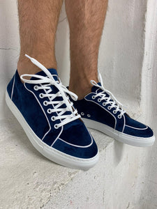 Navy Velvet Trainers