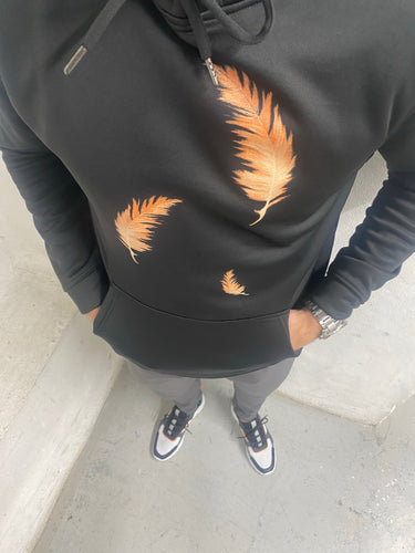 Luxe Black Orange Feather Hoodie