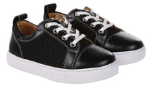Load image into Gallery viewer, Kids Black Leather & Mesh Panel Trainers