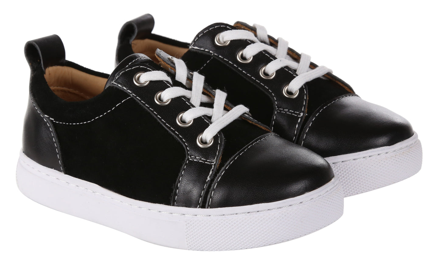 Kids Black Leather & Suede Panel Trainers