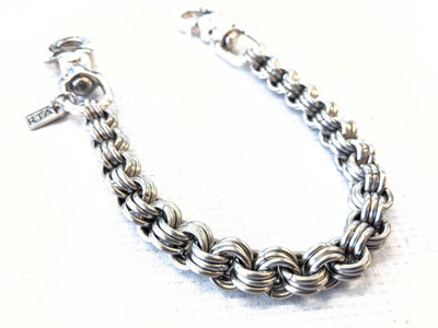 14 Inch 3 In 3 Chain Mail Wallet Chain w/.925 Silver Lucky Horseshoe Clasps - Anvil Customs
