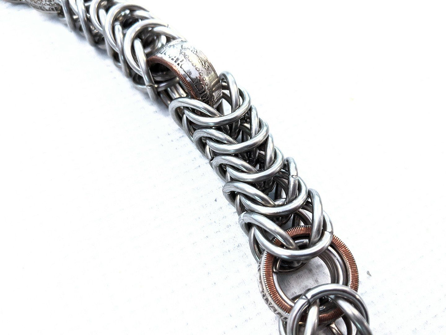 21 Inch Half Dollar Box Weave Chain Mail Wallet Chain - Anvil Customs