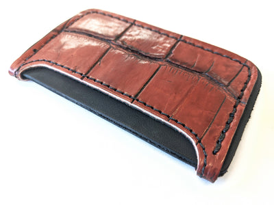 3 Pocket Card Wallet - Antiqued Wine Alligator - Anvil Customs