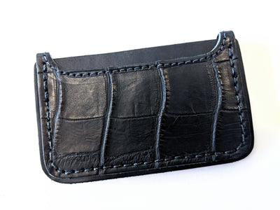3 Pocket Card Wallet - Matte Black Alligator - Anvil Customs