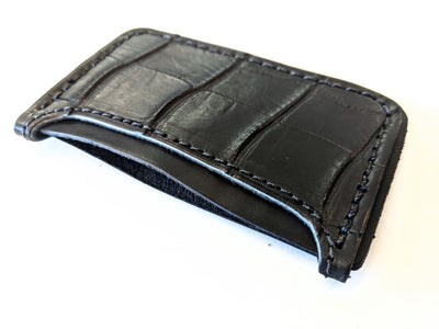 3 Pocket Card Wallet - Matte Black Alligator